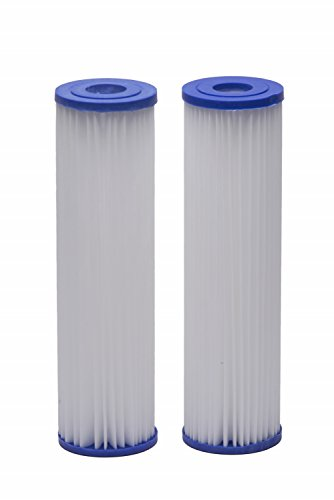 EcoPure EPW2P Pleated Whole Home Replacement Water Filter - Universal Fit - Fits Most Major Brand Systems (2 pack)