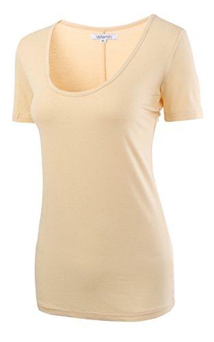 Design Womens Fitted T-shirt (Vetemin Women's Premium Basic Fitted Soft Short Sleeve Deep V Neck T Shirt Tee Apricot XS)