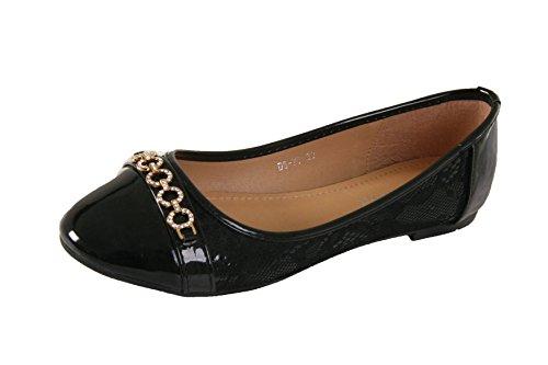 Black LADIES 8 BALLERINA SIZE3 SECRETARY WITH TRIM FLAT SHOES LACE WOMENS DIAMOND WORK 74xwdOZxq