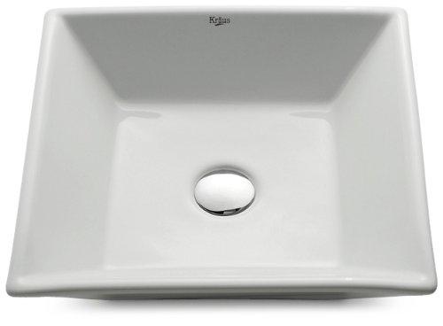 Kraus KCV-125-SN Ceramic Above counter Square Bathroom Sink, 16.8 x 16.8 x 4.72 inches, Satin Nickel/White (Nickel Porcelain Sn Satin)