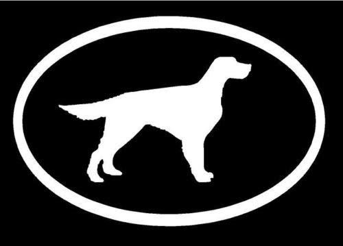 - White Vinyl Decal - English Setter Euro Dog Puppy Love Cute Hunt Birds Sticker, Die Cut Decal Bumper Sticker for Windows, Cars, Trucks, Laptops, Etc.