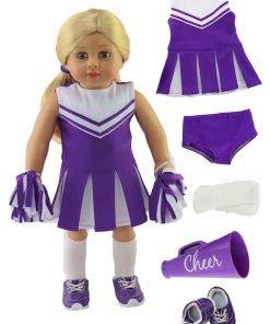 [해외]퍼플 치어리더 의상 치어리딩 유니폼 드레스 블루머 폼 메가폰 양말 및 신발 | 46cm 미국 소녀 인형 마담 알렉산더 우리 세대 등에 적합 | 45.7cm 인형 의류 / Purple Cheerleader Outfit Cheerleading Uniform with Dress, Bloomers, Poms, Megapho...