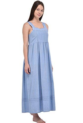 Camicia da notte Cotton Lane Blue Chambray Vintage Riproduzione Vintage Plus Size N227-CH. Taglie italiane dalla 40 alla 70