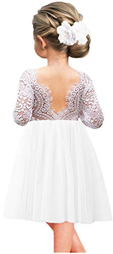 White Dresses For Girls Size 12 (2Bunnies Girl Peony Lace Back A-Line Straight Tutu Tulle Party Flower Girl Dresses (White Short, 12)