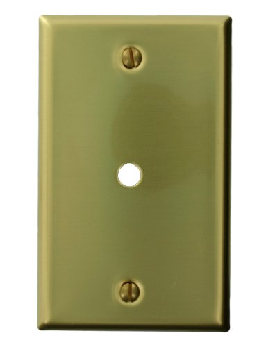 Leviton 81013 1-Gang Single Opening 0.312-InchHole Device Telephone/Cable Wallplate, Standard Size, Box Mount, Brass