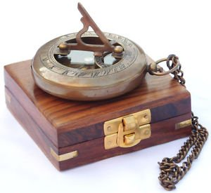 Neovivid Nautical Brass Sundial Compass with Chain/Wooden Case