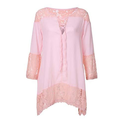 4 Top Chemisier Bringbring Dentelle Rose Mousseline 3 Elgant imprim Haut Chic Shirt Femme Manche qwfAaXw