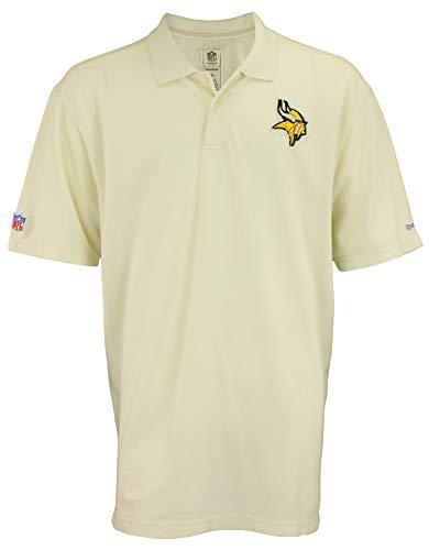 Reebok NFL Mens Minnesota Vikings Distressed Logo Polo, Cream, XXX-Large