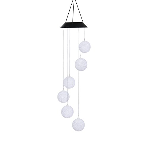 Solar Powered Wind Chimes Lights , Color Changing Waterproof Mobile LED Hanging Lamps, Indoor Outdoor Decoration Illumination (Ball)