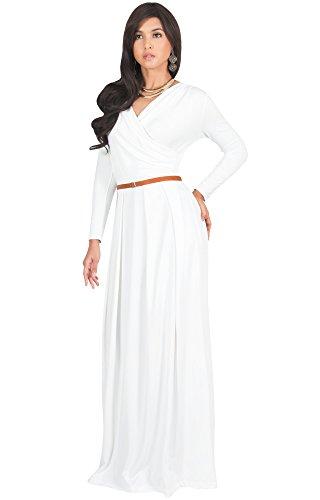 9cf94f1e26b Details about KOH KOH Womens Evening Maxi Dress, Wrap V-Neck Long Sleeve,  Matte Jersey White M