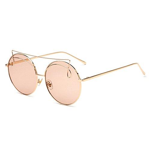 de de de Gafas estilo lentes multicolor y europeo metal para sol e RDJM mujer espejo Gafas sol americano rana c Opcional de Trend UV400 redondas marco Z7q5c