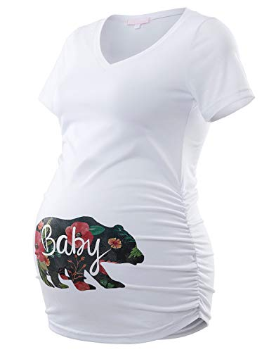 Bhome Maternity T Shirt Casual V Neck Side Ruched Short Sleeve Tee Floral Baby Bear Pregnancy Top White L