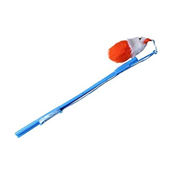Juguete para gatos Nobleza, caña azul con plumas, largo 33 cm: Amazon.es: Hogar