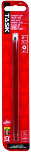 Task Tools T67812 6-Inch Robertson Screwdriver Power Insert Bit,  Number-2 Red - Bit Power Robertson