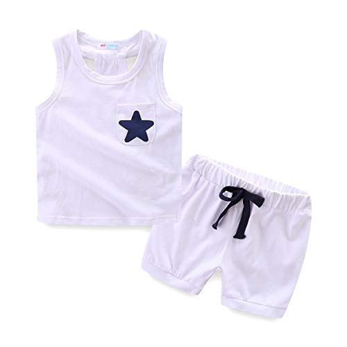 (Mud Kingdom Toddler Boy Summer Clothes Sets Tank Tops and Shorts Star 24 Months White)