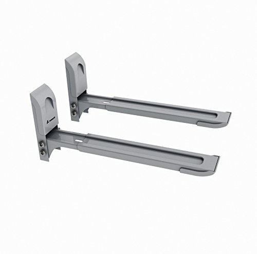 Inmount Microwave Mount Wall Bracket Shelf Holder Stand Adjustable Extendable Free Telescopic Steel for Microwave Ovens (Grey)