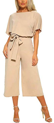 QUEENIE VISCONTI Women Summer Culotte Jumpsuit - Casual Wide Leg Shorts Pants Rompers Vacation Dressy Playsuit L