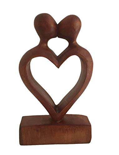 Kiss First Sculpture - OMA Wood Carved Heart Statue First Kiss Love Romantic Abstract Art Home Decor Sculpture (Small)