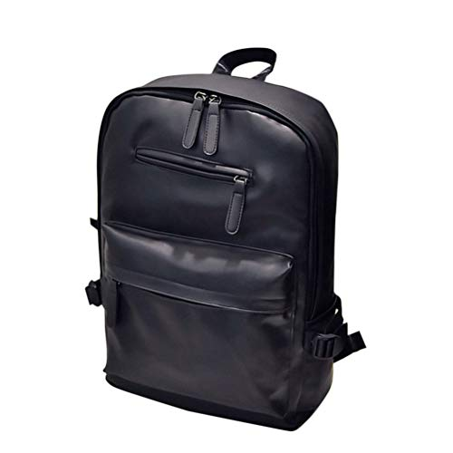 - TENDYCOCO Backpack PU Leather Daypack Large Capacity Black School Bag Leisure for Men