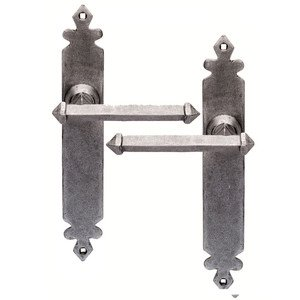 Tudor Style Wrought Iron Door Handles No Keyhole in a Pewter ...