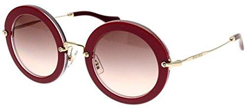 Miu Miu 13NS DHH1E2 Cyclamen Glitter Noir Round Sunglasses Lens Category 2 - Miu Sunglasses Noir Miu Round