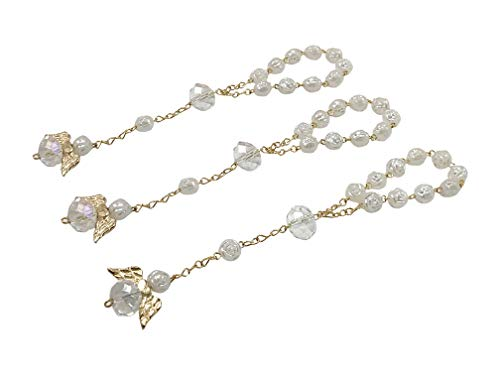 25 White Color Acrylic Beads Baptism Favors Gold Plated Mini Rosaries Plated Accents with Angels Mini Rosaries Acrylic Beads/ Recuerditos De Bautismo/ Christening Favors/ Decenarios/ Decades/ Finger Rosaries