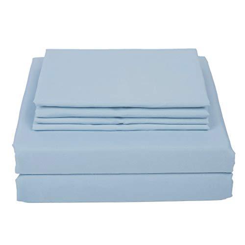 Lavish Linens Bed Sheet Set 27 Inch Extra Deep Pocket Three Quarter Size Solid Light Blue - 1800 Series Soft Microfiber - Wrinkle Resistant Deep Pocket Bed Sheets