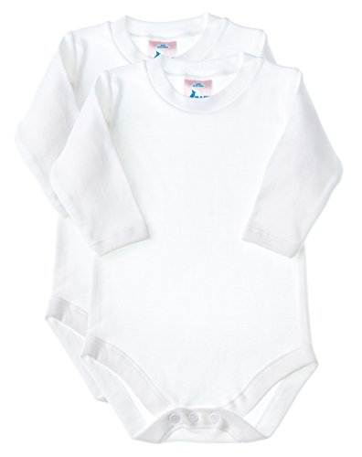 Baby Jay Long Sleeve Onesies 2 Pack - White Ultra Soft Cotton Undershirt - Boys and Girls Baby and Toddler Bodysuit
