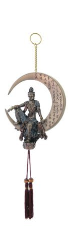 Water & Moon Quan Yin Dream Catcher with Wooden Bead Charm - Cast Bronze Statue Figurine - Cast Metal Beads