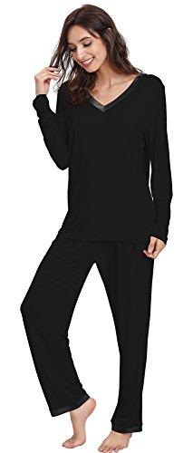 ong Sleeve V Neck Pajama Pants Set, X-Large, Black ()