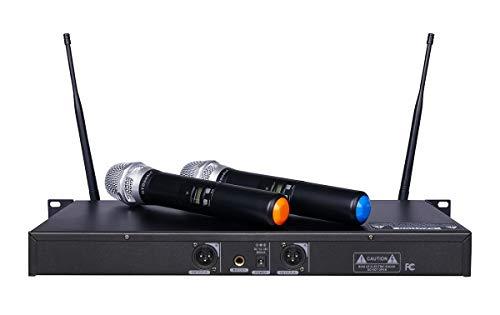 GTD Audio 2x800 Channel UHF Diversity Wireless Hand-held Microphone Karaoke Mic System 733 (2 Hand held mics)