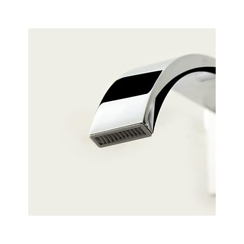 85%OFF W&P Contemporary wall mounted waterfall single hole for two with a ceramic valve Chrome bathroom sink faucet