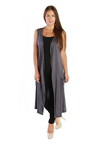 Nelly Aura Open Duster Sleeveless Long Cardigan Vest w/ Pockets - Charcoal - 2X