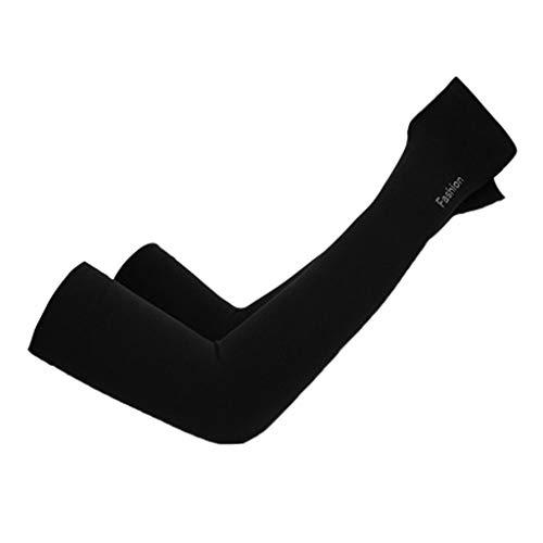 Summer Unisex Outdoor Riding Sports Ice Silk Arm Sleeve - Breathable High Elasticity Elbow Sunscreen Sleeve Protective Gear (1 Pair) (Black, 1 Pair) ()