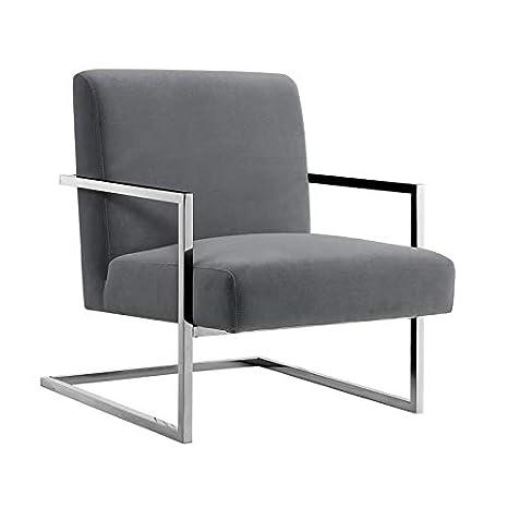 Admirable Amazon Com Posh Living Xzavier Velvet Accent Chair Grey Cjindustries Chair Design For Home Cjindustriesco