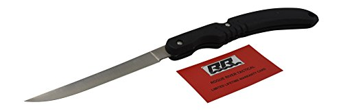 Rogue River Tactical Folding Fish Filet Knife Black Portable Fishing Tool Angler Hunting Fishermen Sharp Blade for Cutting Cleaning Knife