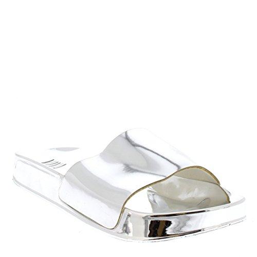 Zapatos Plano Plata Mujer Verano Moda Metlico Deslizadores Espejo Ponerse Rtq04Tx