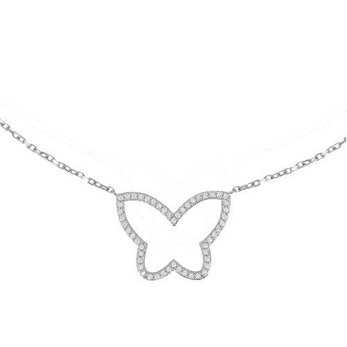 Les Poulettes Bijoux - Collier Argent Rhodié Papillon de Strass