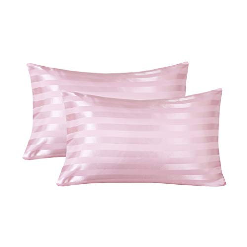 (LANNOMO Satin Pillowcase for Hair and Skin with Envelope Closure | a Set of 2 Pack | Cool Smooth and Soft | King Size 20x40 - Pink Stripe)