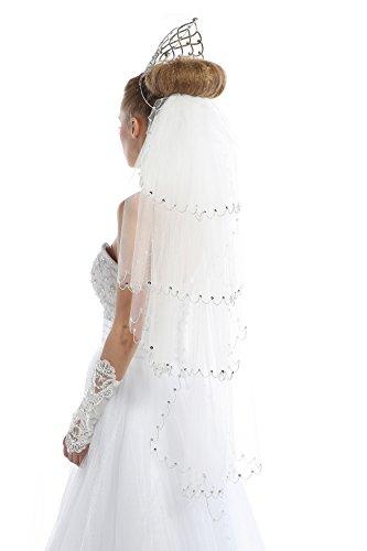 Passat Ivory 4 Tiers Bridal Veils Beading Crystal 25