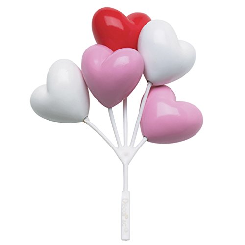 - Balloon Clusters Heart Shaped Red Pink White Cake / Cupcake Toppers - 3 Count