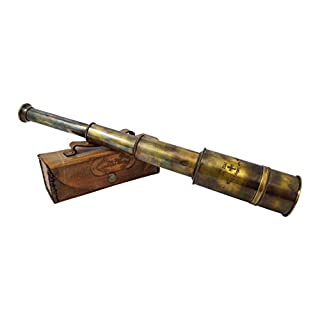 Brass Nautical – Premium Quality Brass Captain's Telescope with Glass Optics and High Magnification. A Vintage Replica…