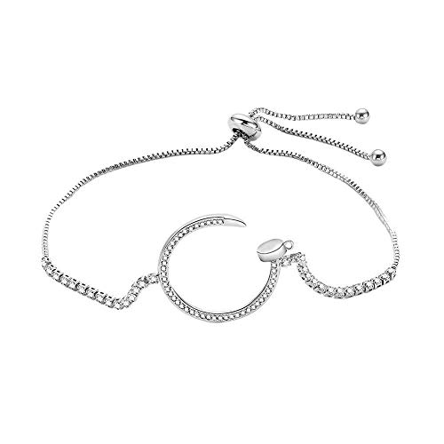 (2019 Fashion Creative Opening Micro-inlaid Zircon Bracelet Size Adjustable Hand Chain for Girls Party Wedding Jewellery by FAVOT (Silver))