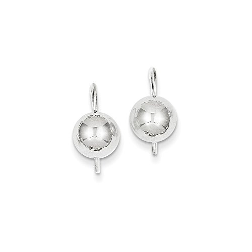 Button Half Ball Kidney Wire Earrings in Genuine 14k White Gold - 8 mm (Kidney Wire Ball Earrings)