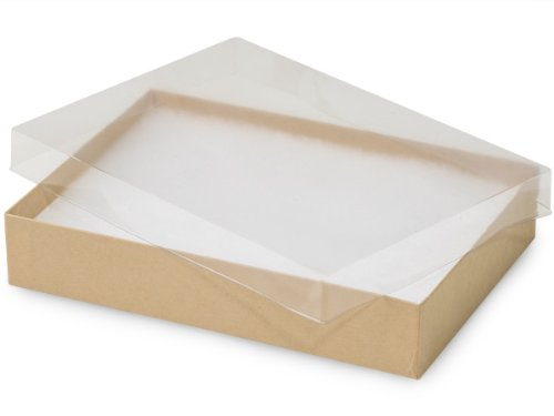7x5x1-1/4'' Clear Lid Jewelry Boxes Kraft Base ~ Non-tarnish Cotton (Unit Pack - 100) by Better crafts