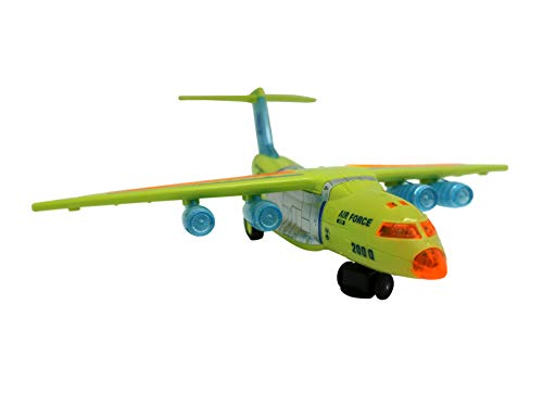 Motorized Airplane (Forest & Twelfth Military Transport Toy Plane – Bump-and-Go Motorized Toy Aircraft with Attractive Lights – Changes Directions on Contact with Objects)