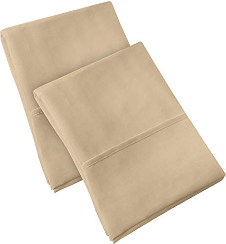 Utopia Bedding Pillowcases 2 Pack – (King, Beige) - Brushed Microfiber Pillow Covers - Maximum Softness - Elegant Double-Stitched Tailoring - Reduces Allergies and Respiratory Irritation