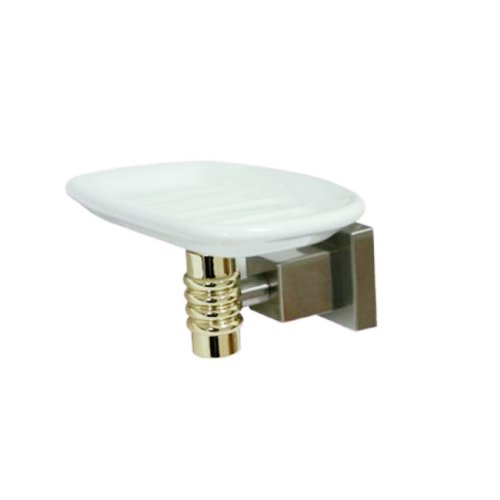 (Kingston Brass BAH4645SNPB fortress Ceramic Soap Dish, Satin Nickel/Polished)