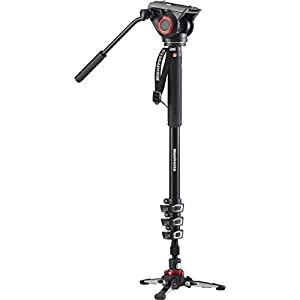 RetinaPix Manfrotto Xpro Aluminum Video Monopod With 500 Series Video Head, Black