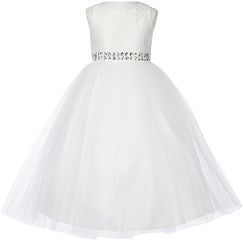 Big Girls Flower Lace Bodice Tulle Skirt Sparkling Rhinestones on The Waistline Girl Dress White - Size 12